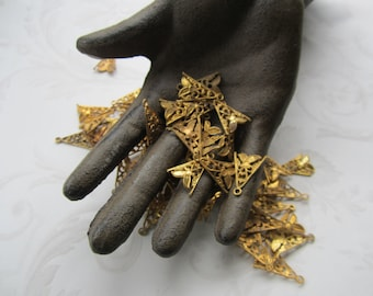 Vintage Floral Raw Brass Filigree Drops Or Charms 12Pcs.