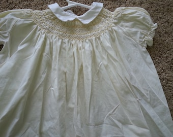 Vintage Polly Flinders dress, size 12 months, Easter,  yellow with yellow smocking