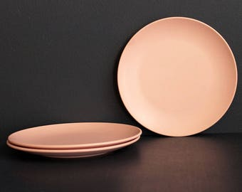 Vintage Roymac Melmac by Royalon Three Small Dessert Sald Plates Light Pink Melamine Mid Century Replacement Pieces