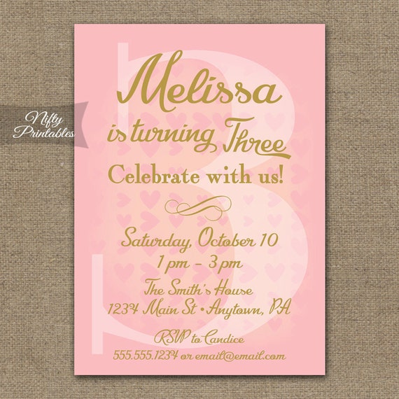 3rd birthday invitations pink gold printable 3rd birthday stopboris Images