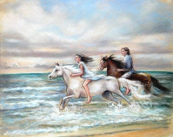 "Horses, Beach, couple - ORIGINAL pastel painting - wind and sea,"" Chasing the Wind"" Laurie Shanholtzer 16x20"