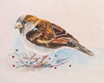 Sparrow illustration,  original watercolor,  miniature bird art,  aceo dimensions,  garden bird painting,  tiny bird picture,