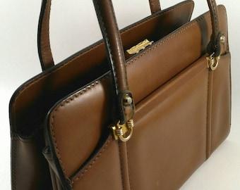 Brown handbag, vintage brown purse, 60's brown purse