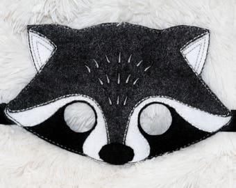 Raccoon masquerade mask for kids, Birthday party masquerade mask for masquerade birthday parties.