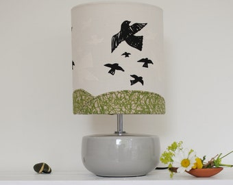 Fabric Lampshade, Flying Birds, Handprinted, Natural Fabric