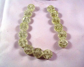14mm Crackle Glass Coin Beads