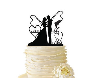 Mr. Mrs. with Bride and Groom - Fishing Poles With Date or Initials  - Standard Acrylic - Wedding - Anniversary - Fishing Cake Topper - 183