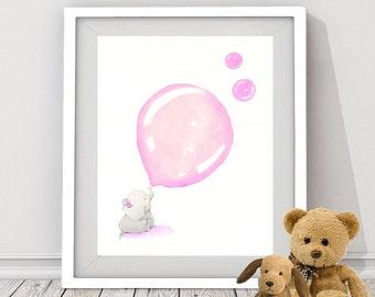 pink elephant digital download, baby elephant, elephant art for nursery room, girl's nursery room, elephant instant download, baby animal