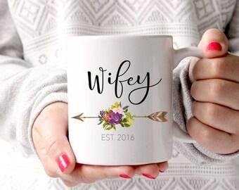 Gift for wife, Wifey Mug, Fall Wedding Gift, Mr and Mrs, Wedding Mugs, Engagement Gift, Bridal Shower Gift, Anniversary Gift, Coffee Mug