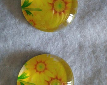 Sunflower glass cabochons