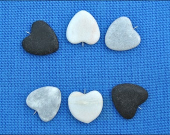 6 Hearts Pendants- Hearts stone with ring on top-Stone for painting-Top Drilled rocks-Black and Whire Stone Hearts (Q9)