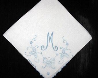 Wedding Something Blue, Handkerchief Bridal Hankerchief Initial M E R G B D F or Letter Vintage