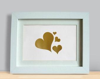 "Gold Hearts FRAMED 5x7"" screenprint"