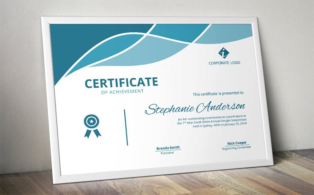 Modern curve certificate template for MS Word docx