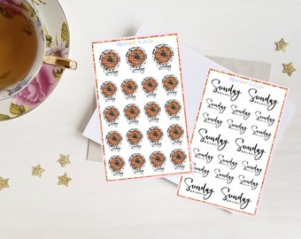 SUNDAY BRUNCH Planner Stickers - Cute Waffle Breakfast, Brunch Stickers for Erin Condren and Other Notebooks - Brunch Date