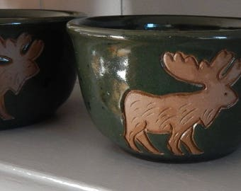 2 Moose Ceramic Bowls by Collection Circle