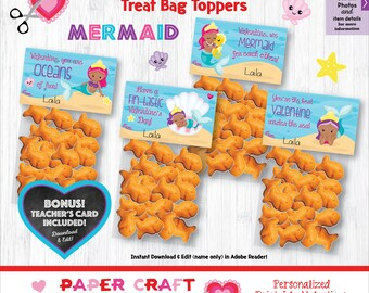 Mermaid Valentine Treat Bag Toppers | Printable Classroom Valentines | Classroom Exchange | African American | By Paper Craft Valentines