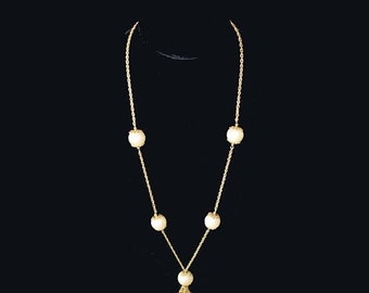 Memorial Day Sale Vintage Long 32 Inch Goldtone Byzantine Chain Necklace with Large 21mm Faux Pearls and Goldtone Tassels