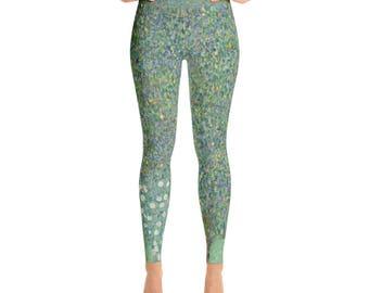 Gustav Klimt, Rosebushes under the Trees - Yoga Leggings