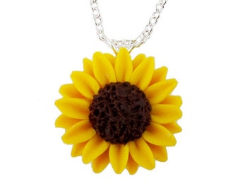Sunflower Necklace - Sunflower Jewelry, Yellow Sunflower Pendant Necklace