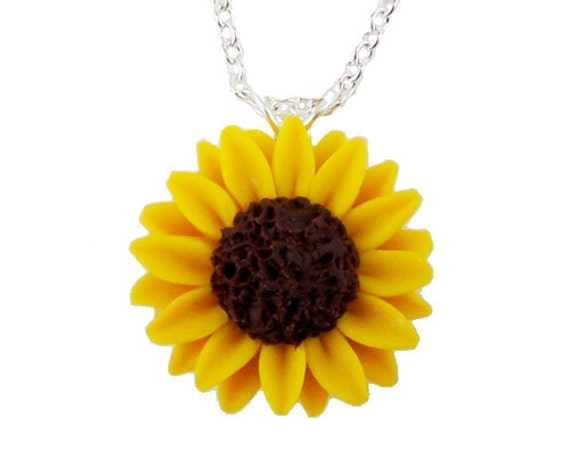 Sunflower necklace sunflower jewelry yellow sunflower aloadofball Image collections