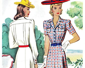 1940s Bust 30 Misses Dress Bodice Pockets Pleat Short Long Sleeve Vintage Sewing Pattern McCalls 4252 c 1941 40s