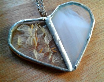 Large stained glass dandelion seed necklace, wish necklace, heart necklace, boho jewelry, gypsy hippie necklace, romantic gift, valentine's