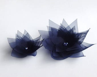 2 Navy Blue Handmade Organza Flowers Embellishment