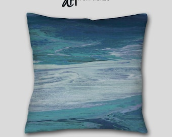 Teal Navy Blue Abstract art Throw pillow, Cover Case, Large sofa cushion, Accent, Couch, Decorative