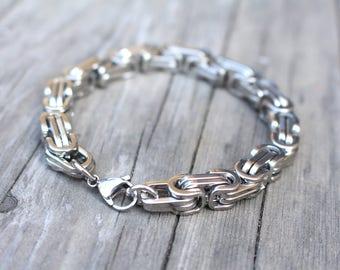 Mens Bracelet Stainless Steel , Chunky Byzantine Bracelets for Men , Biker Bracelet . Thick Chain Bracelet