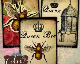 Queen Bee, Printable, Journaling Cards, Bee Ephemera, Vintage Bee Images, Digital, Collage Sheet, Printable Tags, Digital Art, Scrapbooking