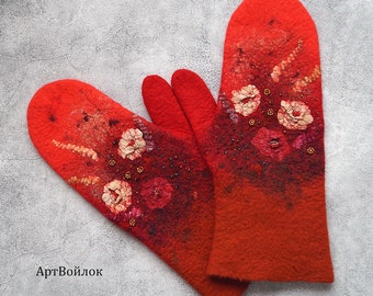 Felted mittens HOLIDAY