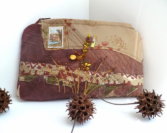 Fiber art pouch featured in Sew Somerset Magazine, fabric collage, free style hand embroidery, bohemian,one of a kind, Brown fantasy II