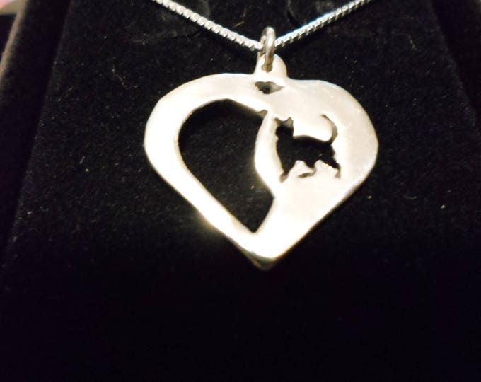 heart necklace w/sterling silver chain quarter size