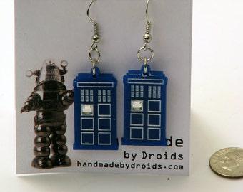Doctor Who TARDIS Dangle Earrings with rhinestone bling