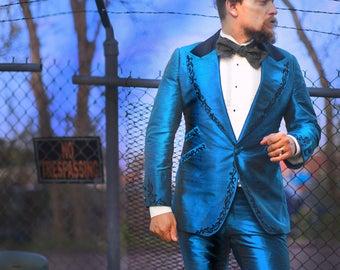 "Blue Silk ""Tree of Life"" Tuxedo---Custom Made--Decadence'89"