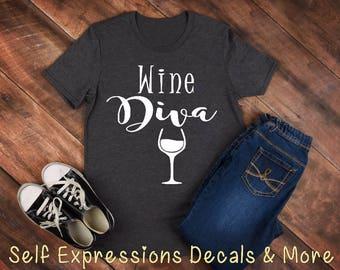 Wine Diva Ladies Tshirt Tank Top Hoodie