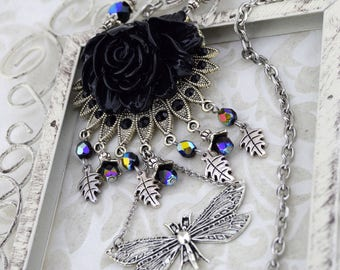 Large Dragonfly Necklace | Winged Mysteries Necklace | Statement necklace, Fantasy Necklace, Black Rose Necklace, Gothic Fantasy Necklace