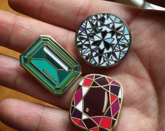 Set of *3* enamel gemstones pins