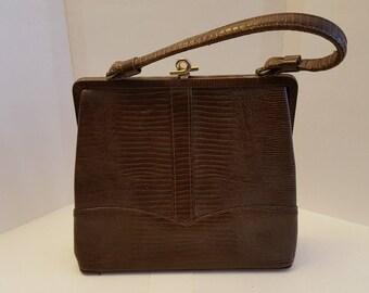 Vintage Brown Snakeskin Handbag/ Vintage Purse