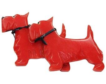 Vintage Red Plastic Scottie Pin