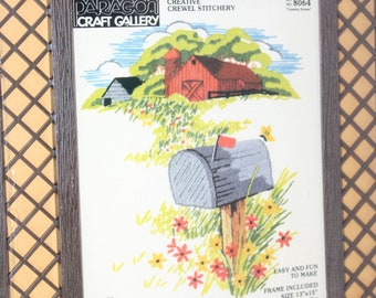 "Paragon Country Scene Creative Crewel Stitchery Kit -- 13"" x 15"", Includes Lattice Frame -- Barn, Flowers, Mailbox, Countryside -- 1981"