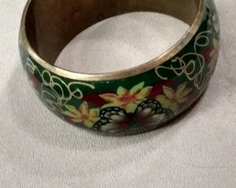 Cloisonne Bangle, *SALE*Green Motif, Wide, Green Pattern Wide Bangle Bracelet, Brass, Floral, Vintage, Art Deco, Boho, Chic, Motif Design