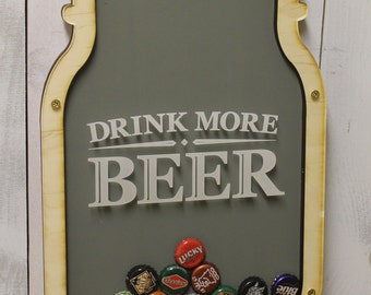 Drink More Beer/Bottle Cap Holder/Bottle Cap Display/Mason Jar/Beer Decor/Bar Decor/Father's Day/Man Gift/Bottle Cap Collector/Cap Display