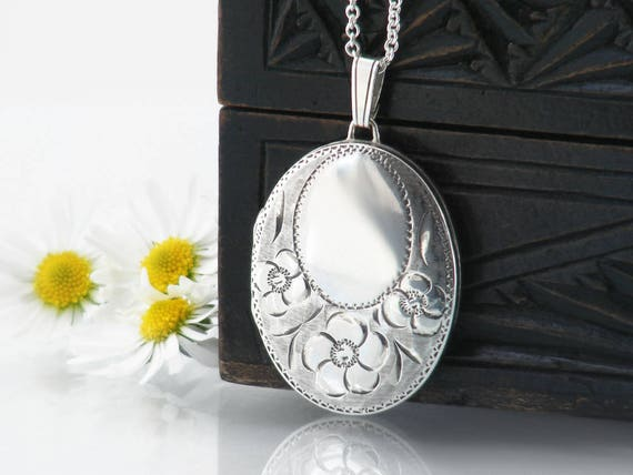 Vintage Sterling Silver Locket | Engraved Oval Locket, Forget-Me-Not Flowers | 1979 English Silver | Wedding Locket Necklace - 20 inch Chain