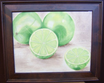 Limes, Apples, and Pears. Three oil paintings available!