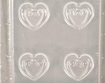 Scroll Hearts 4 Earrings Resin Mould RM 51610