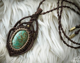 Fertility amulet - Macrame necklace with turquoise gemstone and solid brass beads. Tribal Goddess, unique, psytrance, festival