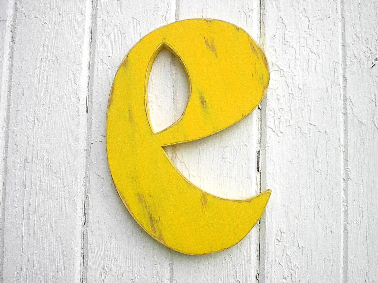 Shabby Chic Nursery Wall Hanging Wooden Letter e