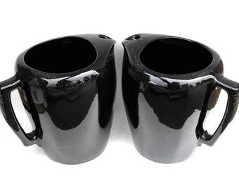 1950s Black Frankoma Pitchers Vintage Gothic Onyx Obsidian Retro Mod Avant Garde Pottery Abstract Art Kitchen Serving Set Hostess Home Decor